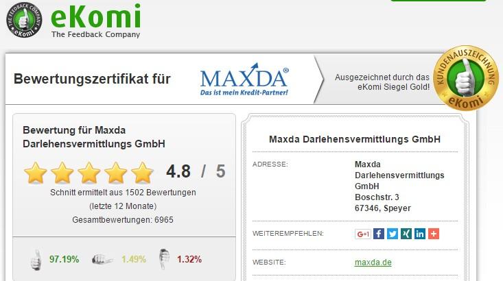 eKomi Bewertung für den Maxda Kredit