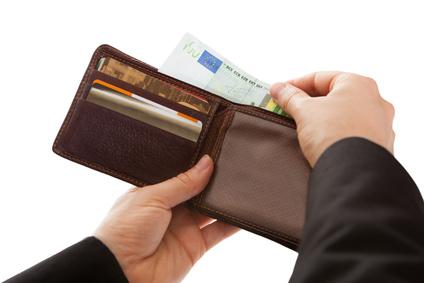 Geldbörse mit geliehenem Geld