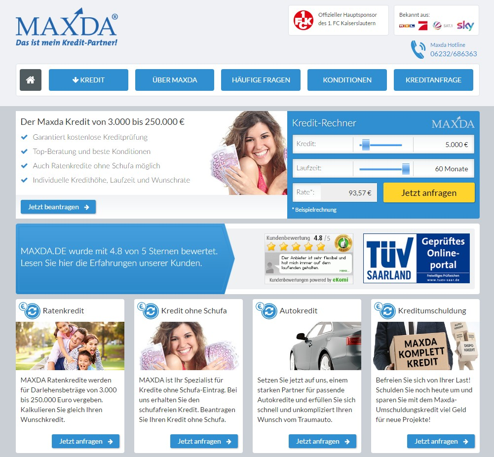 Maxda Webseite Screenshot